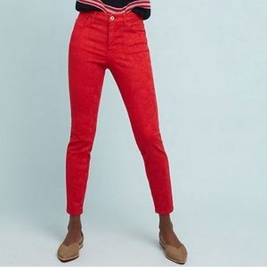 ANTHROPOLOGIE | Pilcro Red Embossed Floral Pants
